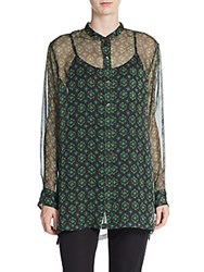 Dries Van Noten Geo Print Silk Chiffon Blouse Green
