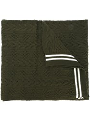 Comme Des Garcons Shirt Striped Scarf Green