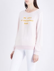 Wildfox Couture No Love No Backstage Pass Fleeced Stretch Jersey Sweatshirt Pink Gloss Gold Glitter