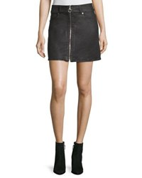 7 For All Mankind Zip Front A Line Mini Skirt Black