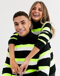 Another Influence Unisex Stripe Roll Neck Multi