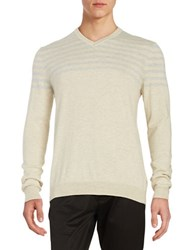 Black Brown Quarter Striped V Neck Sweater Oatmeal Heather