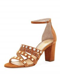 Jerome C. Rousseau Abel Suede Studded High Sandal Tan