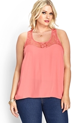 Forever 21 Floral Lace Racerback Tank Coral