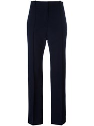 Celine High Waisted Trousers Women Cotton Wool 38 Blue