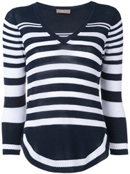 Cruciani Cropped Striped Knitted Top Women Cotton 46 Blue
