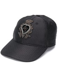 Dolce And Gabbana Patch Detail Baseball Cap Black