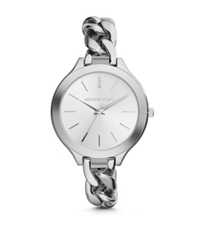 Michael Kors Slim Runway Silver Tone Chain Link Watch