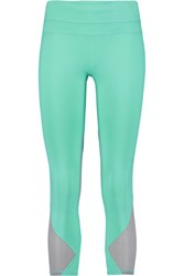 Athletic Propulsion Labs Cropped Mesh Paneled Stretch Jersey Leggings Light Green
