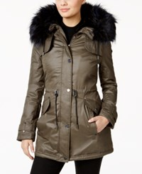 Laundry By Shelli Segal Faux Fur Trim Anorak Coat Smokestone