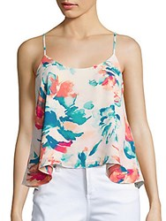 Saks Fifth Avenue Red Mixed Print Top Coral Multi