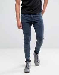 New Look Super Skinny Jeans In Acid Wash Navy