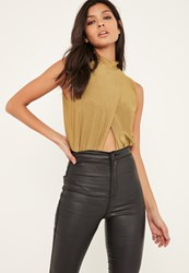 Missguided Green Slinky Wrap Front Turtle Neck Bodysuit Olive