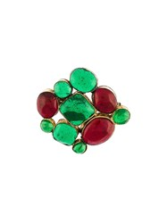 Chanel Vintage Gripoix Brooch Green