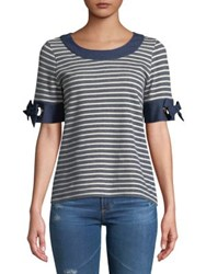 Ivanka Trump Striped Knit Bow Sleeve Top Navy Ivory