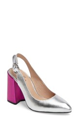 Shellys Women's London 'Chester' Slingback Glitter Pump Silver Leather