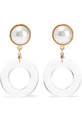 Ben Amun Gold Tone Faux Pearl And Lucite Clip Earrings Gold