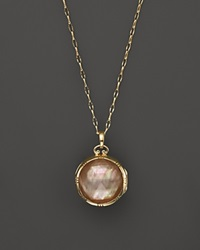 Monica Rich Kosann 18K Yellow Gold Dual Side Stone Crystal And Cognac Doublet Locket Necklace 30 Gold Multi
