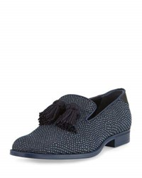 Jimmy Choo Foxley Python Textured Denim Tassel Loafer Black Blue