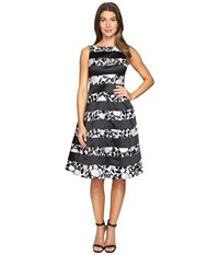 Adrianna Papell Boatneck Fit Flare Dress Light Pink Black Women's Dress