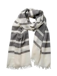 Johnstons Of Elgin Extra Fine Merino Shaded Stripe Scarf Grey