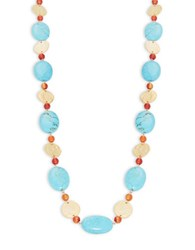 Kenneth Jay Lane Turquoise And Hammered Disc Necklace Gold