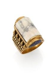 A Peace Treaty Yabaana White Agate Carved Bezel Ring Gold
