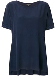 Antonelli Knitted Short Sleeve Flared Top Blue