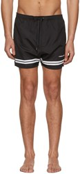 Neil Barrett Black And White Stripes Logo Swim Shorts