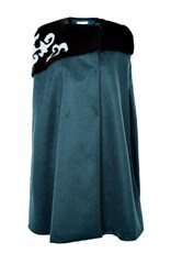 Genny Wool And Mink Cape Green