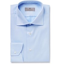 Canali Light Blue Slim Fit Micro Herringbone Cotton Shirt Blue