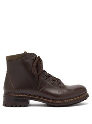 O'keeffe Austin Grained Leather Hiking Boots Dark Brown