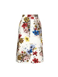 Erdem Floral Print Cotton Canvas Midi Skirt