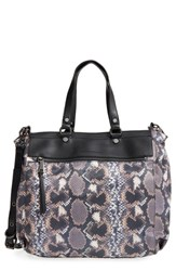 French Connection 'June' Faux Leather Tote Grey Python