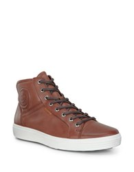 Ecco High Top Lace Up Sneakers Mahogany