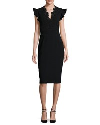 Rebecca Taylor Lace Trim Crepe Sheath Dress Black