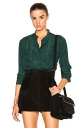Frame Denim Silk Troop Top In Green