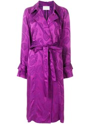 Peter Pilotto Satin Jacquard Trench Coat Pink And Purple