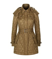 Burberry Hooded Quilted Trench Coat Female Beige