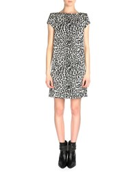 Saint Laurent Cap Sleeve Leopard Print Shift Dress White Black