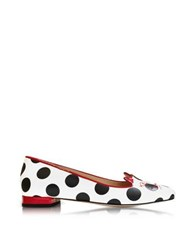 Charlotte Olympia White Polka Dot Print Leather Kitty Flats Multicolor