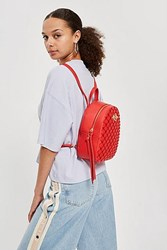 Topshop Sweetheart Beaded Backpack Red
