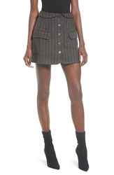 Astr The Label Wilshire Button Front Skirt Charcoal Brown Stripe