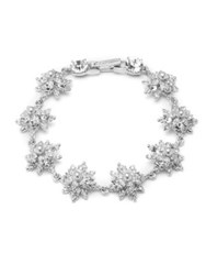 Marchesa 3Mm Man Made Pearl And Crystal Floral Bracelet Rhodium