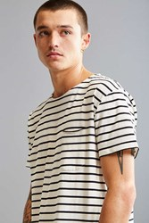 Urban Outfitters Nautical Stripe Long Loose Scoopneck Tee Ivory