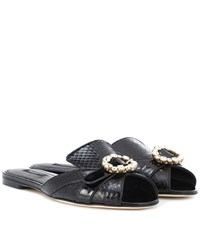 Dolce And Gabbana Snakeskin Leather Slippers Black