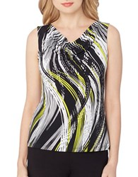 Tahari By Arthur S. Levine Petite Printed Cowlneck Sleeveless Top White Black