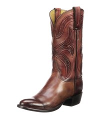Lucchese Knox Leather Cowboy Boots Black Cherry