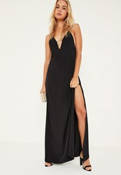 Missguided Black Silky Strappy Maxi Dress