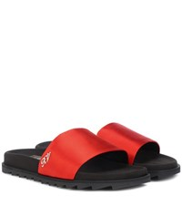 Roger Vivier Slidy Viv Satin Slides Red